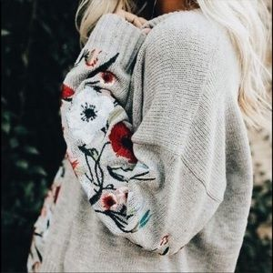 cozy floral embroidered sweater